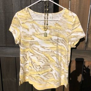 Chico's w/necklace - T-shirt Size 1 Funky Yellow